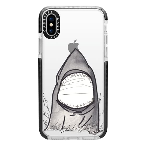 iPhone X Cases - Cool Gray Hand Painted Watercolor Shark in the Ocean- Transparent