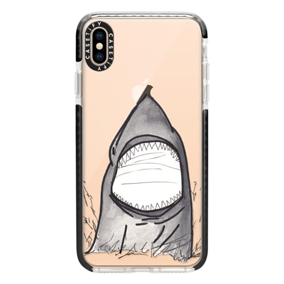 iPhone XS Max Cases - Cool Gray Hand Painted Watercolor Shark in the Ocean- Transparent