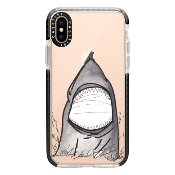 iPhone XS Cases - Cool Gray Hand Painted Watercolor Shark in the Ocean- Transparent