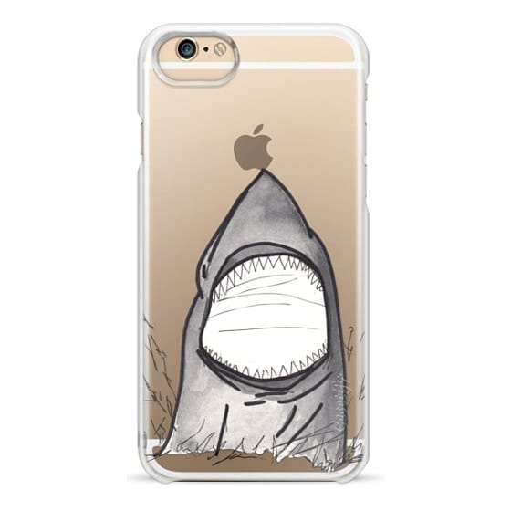 iPhone 6 Cases - Cool Gray Hand Painted Watercolor Shark in the Ocean- Transparent
