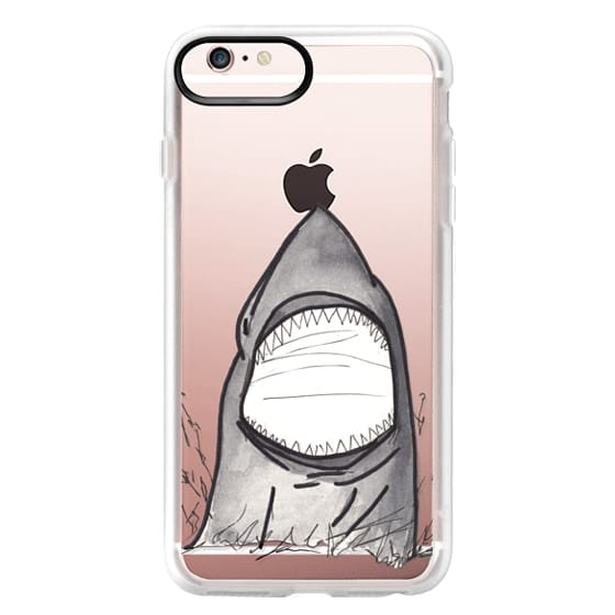 iPhone 6s Plus Cases - Cool Gray Hand Painted Watercolor Shark in the Ocean- Transparent