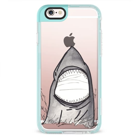 iPhone 4 Cases - Cool Gray Hand Painted Watercolor Shark in the Ocean- Transparent
