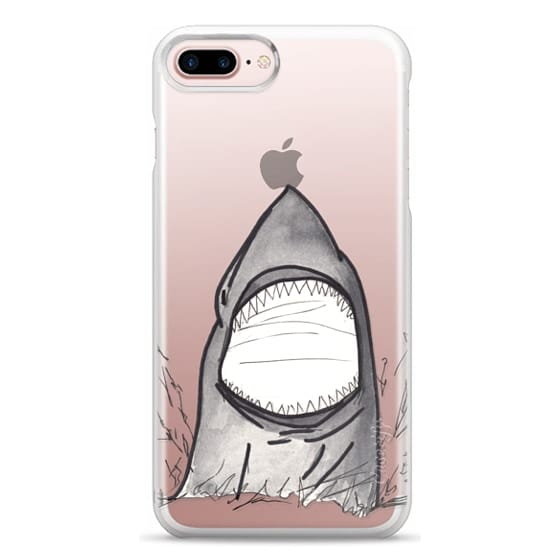 iPhone 7 Plus Cases - Cool Gray Hand Painted Watercolor Shark in the Ocean- Transparent