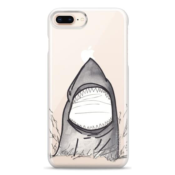 iPhone 8 Plus Cases - Cool Gray Hand Painted Watercolor Shark in the Ocean- Transparent