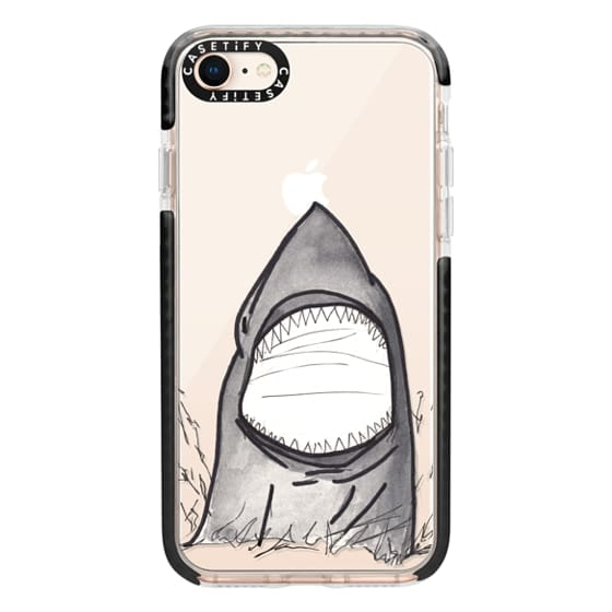 iPhone 8 Cases - Cool Gray Hand Painted Watercolor Shark in the Ocean- Transparent