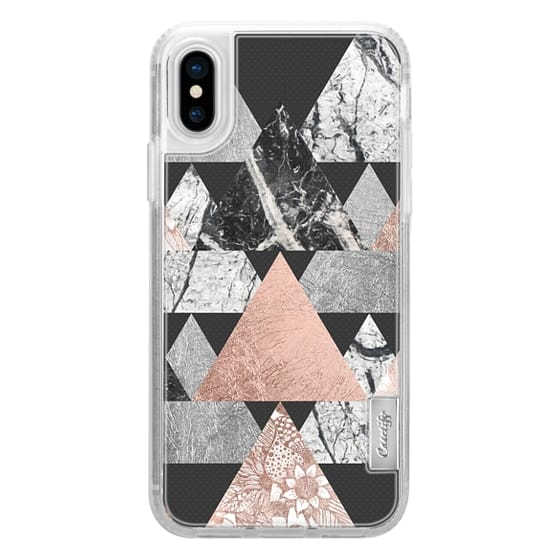 iPhone X Cases - Modern Elegant Floral Faux Rose Gold and Silver and Black and White Marble Geometric Triangles on Black