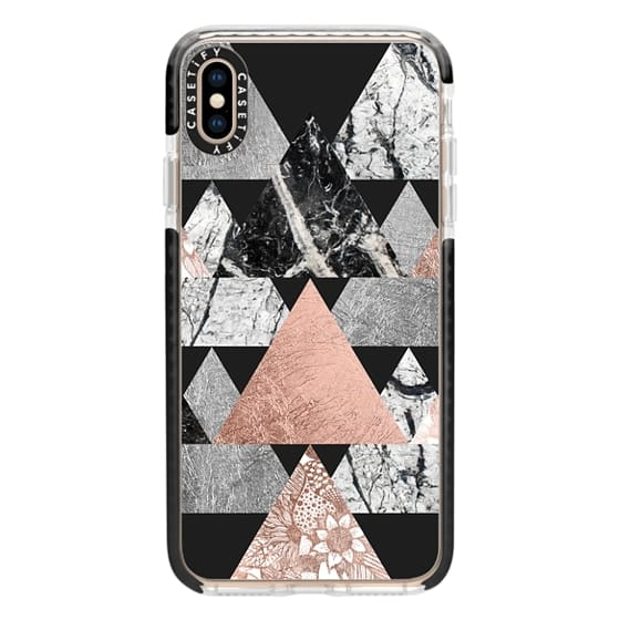 iPhone XS Max Cases - Modern Elegant Floral Faux Rose Gold and Silver and Black and White Marble Geometric Triangles on Black