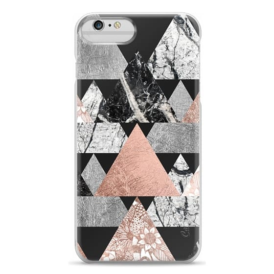 iPhone 6 Plus Cases - Modern Elegant Floral Faux Rose Gold and Silver and Black and White Marble Geometric Triangles on Black