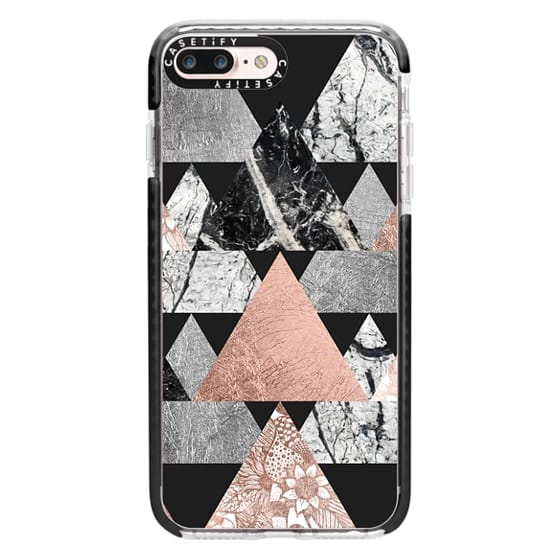 iPhone 7 Plus Cases - Modern Elegant Floral Faux Rose Gold and Silver and Black and White Marble Geometric Triangles on Black