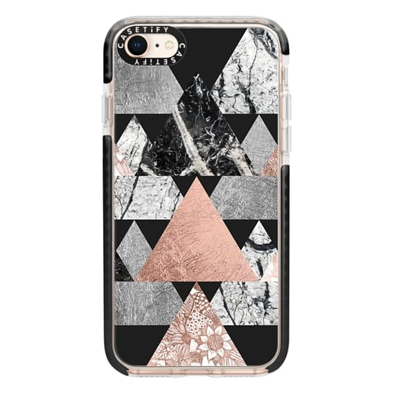 iPhone 8 Cases - Modern Elegant Floral Faux Rose Gold and Silver and Black and White Marble Geometric Triangles on Black