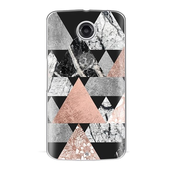 Nexus 6 Cases - Modern Elegant Floral Faux Rose Gold and Silver and Black and White Marble Geometric Triangles on Black