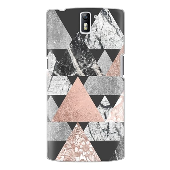 One Plus One Cases - Modern Elegant Floral Faux Rose Gold and Silver and Black and White Marble Geometric Triangles on Black