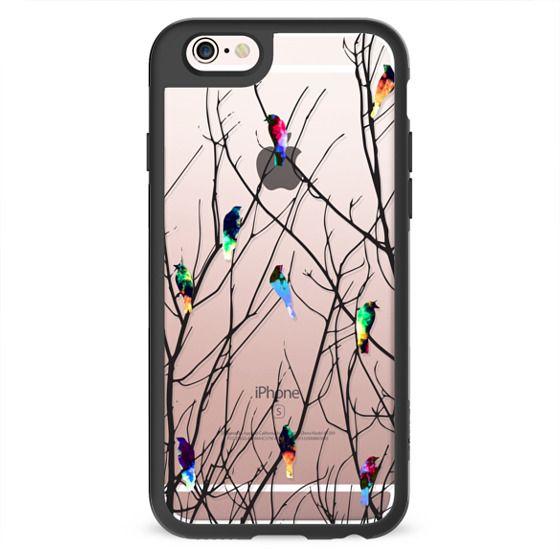 Trendy Watercolor Birds on Black Tree Branches