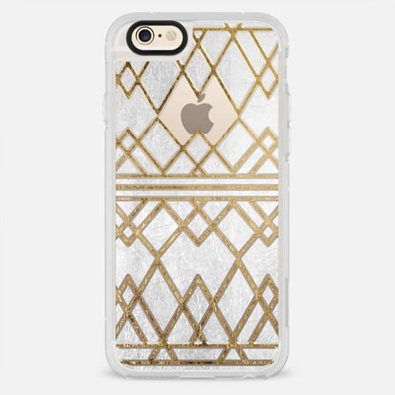 Modern Elegant Faux Printed Gold Geometric Triangles Cutout Pattern & White Foil - New Standard Case