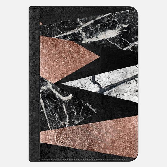 iPad Mini 4 Capa - Elegant Modern Faux Printed Rose Gold & Black and White Marble Triangles