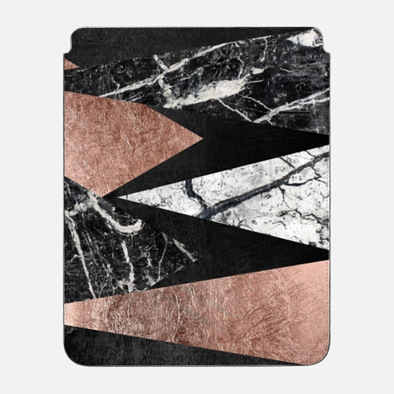 """iPad Pro 12.9"""" Sleeve - Elegant Modern Faux Printed Rose Gold & Black and White Marble Triangles"""