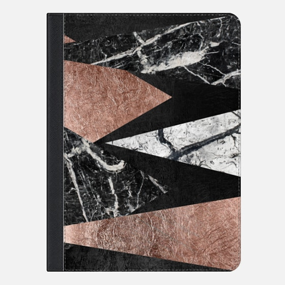 "iPad Pro 9.7"" Capa - Elegant Modern Faux Printed Rose Gold & Black and White Marble Triangles"