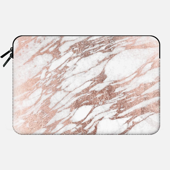 Macbook 12 Hülle - Elegant Chic Faux Rose Gold and White Marble Pattern