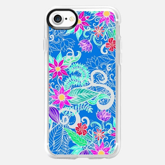 Colorful Vibrant Bohemian Pink Girly Floral Illustrations on Blue - Classic Grip Case