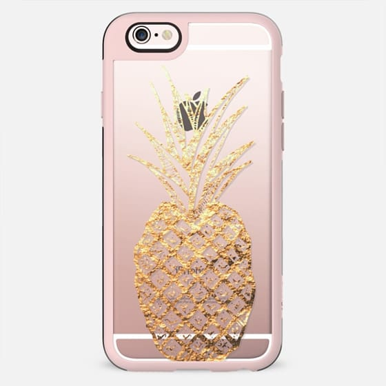 Faux Gold Leaf Fruity Summer Pineapples on Transparent Background - New Standard Case