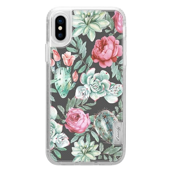 iPhone X Cases - Cute Succulent Watercolor Painted Flower  Cactus Pattern