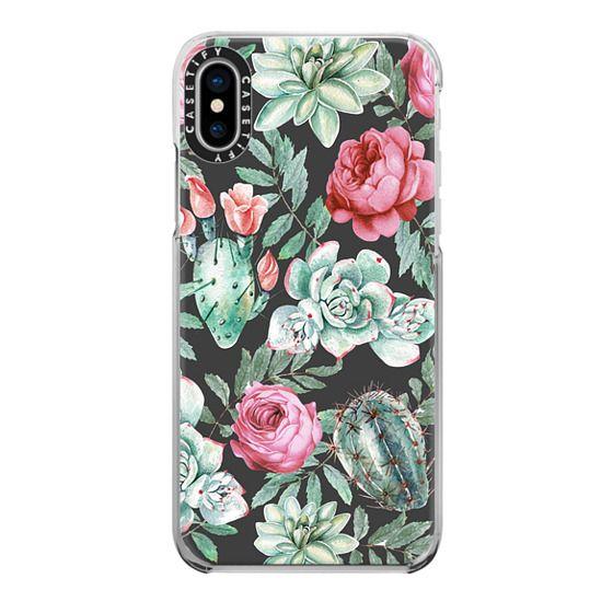 iPhone X Cases - Cute Succulent Watercolor Painted Flower  Cactus Pattern