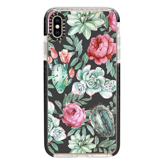 iPhone XS Max Cases - Cute Succulent Watercolor Painted Flower  Cactus Pattern