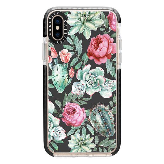 iPhone XS Cases - Cute Succulent Watercolor Painted Flower  Cactus Pattern