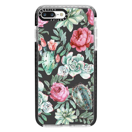 iPhone 7 Plus Cases - Cute Succulent Watercolor Painted Flower  Cactus Pattern
