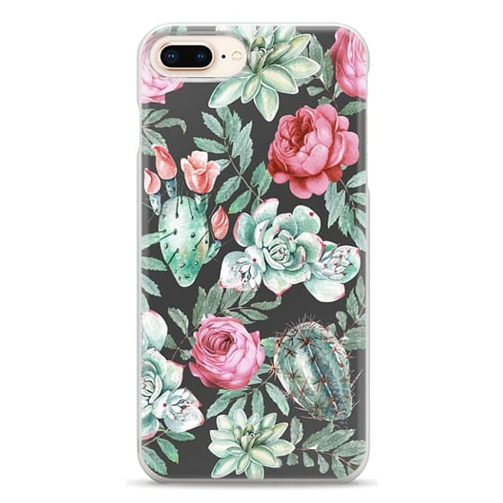 iPhone 8 Plus Cases - Cute Succulent Watercolor Painted Flower  Cactus Pattern