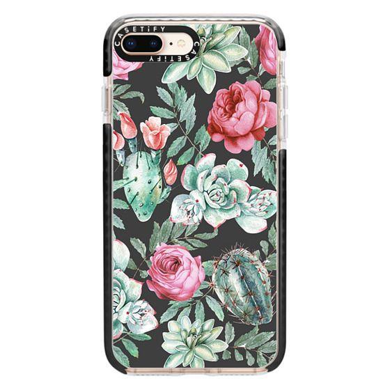 iPhone 8 Plus Cases - Cute Succulent Watercolor Painted Flower  Cactus Pattern