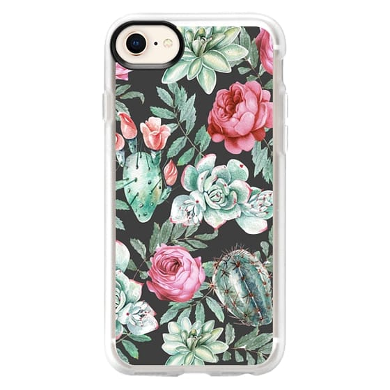 iPhone 8 Cases - Cute Succulent Watercolor Painted Flower  Cactus Pattern