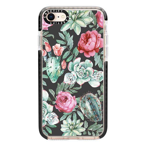 iPhone 8 Cases - Cute Succulent Watercolor Painted Flower  Cactus Pattern