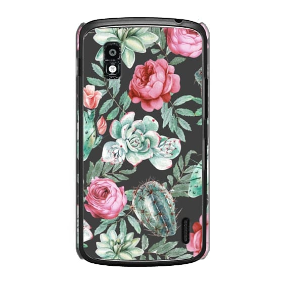 Nexus 4 Cases - Cute Succulent Watercolor Painted Flower  Cactus Pattern
