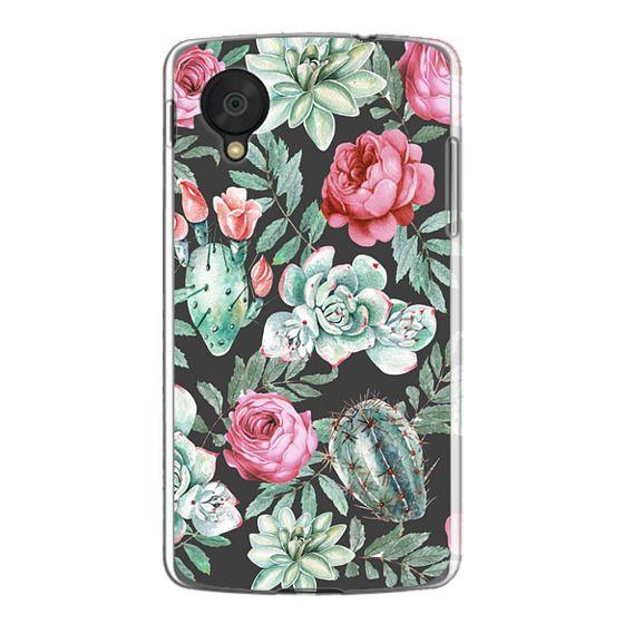 Nexus 5 Cases - Cute Succulent Watercolor Painted Flower  Cactus Pattern