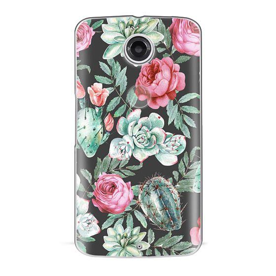 Nexus 6 Cases - Cute Succulent Watercolor Painted Flower  Cactus Pattern