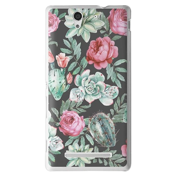 Sony C3 Cases - Cute Succulent Watercolor Painted Flower  Cactus Pattern