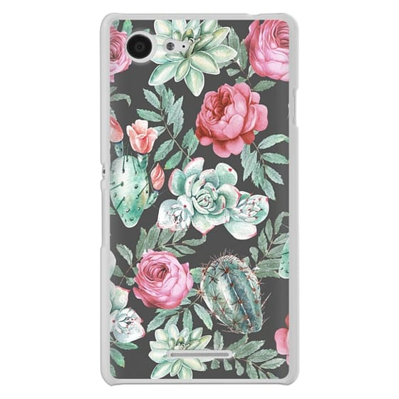 Sony E3 Cases - Cute Succulent Watercolor Painted Flower  Cactus Pattern