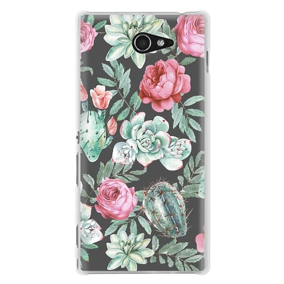 Sony M2 Cases - Cute Succulent Watercolor Painted Flower  Cactus Pattern