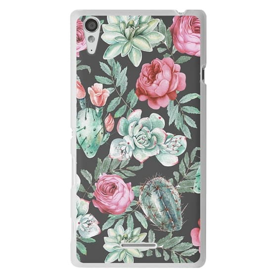 Sony T3 Cases - Cute Succulent Watercolor Painted Flower  Cactus Pattern