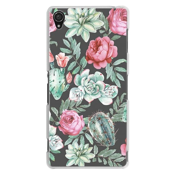 Sony Z3 Cases - Cute Succulent Watercolor Painted Flower  Cactus Pattern