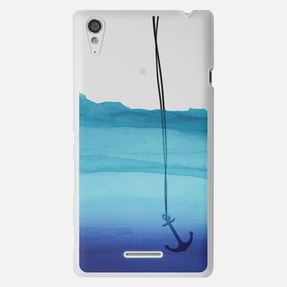 Watercolor Ocean Blue Gradient Nautical Anchor on Transparent Background