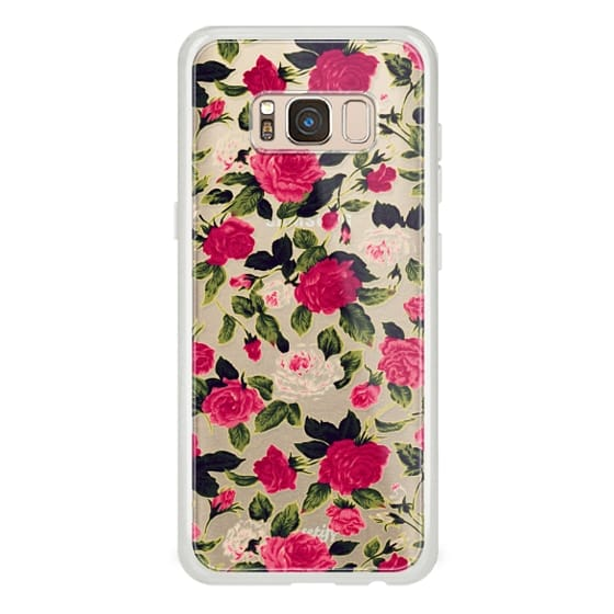 Samsung Galaxy S8 Cases - Pretty Pink Roses Flowers Pattern on Transparent Background