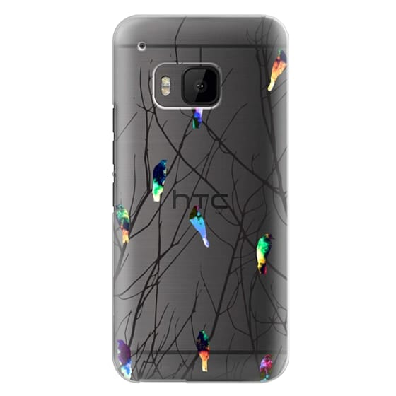 Htc One M9 Cases - Trendy Watercolor Birds on Black Tree Branches