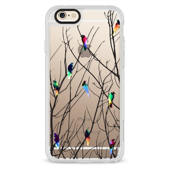 iPhone 4 Cases - Trendy Watercolor Birds on Black Tree Branches