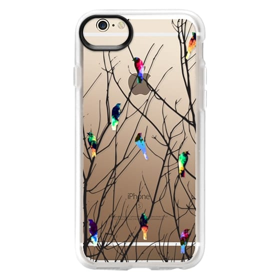 iPhone 6s Cases - Trendy Watercolor Birds on Black Tree Branches