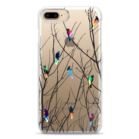 iPhone 7 Plus Cases - Trendy Watercolor Birds on Black Tree Branches