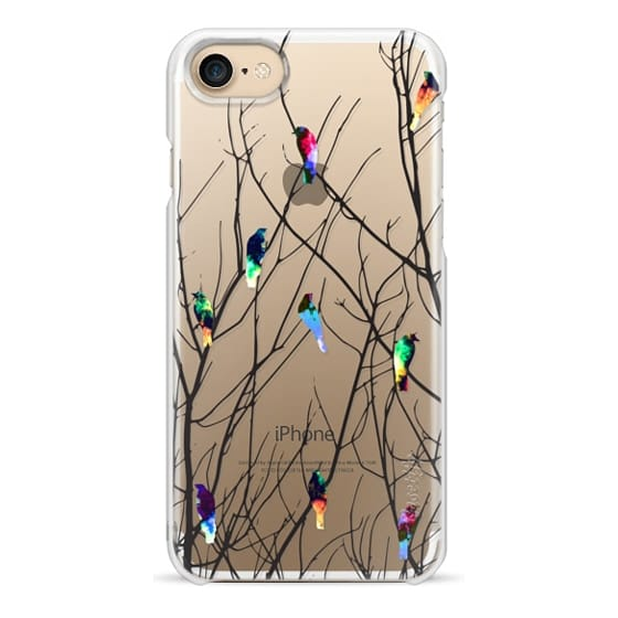 iPhone 7 Cases - Trendy Watercolor Birds on Black Tree Branches