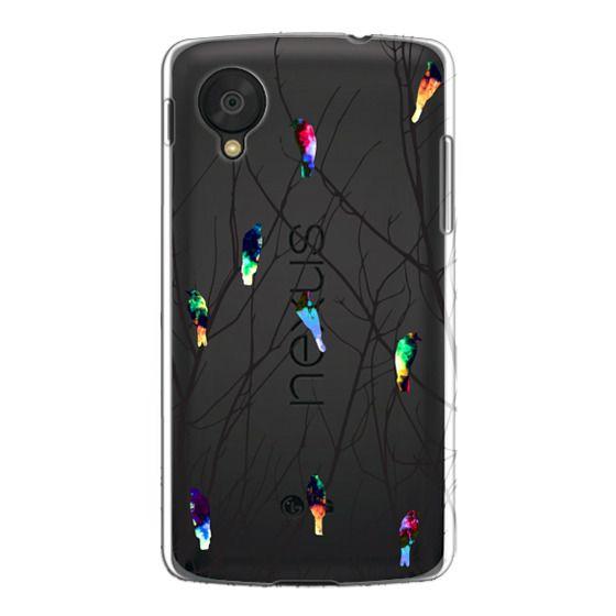 Nexus 5 Cases - Trendy Watercolor Birds on Black Tree Branches
