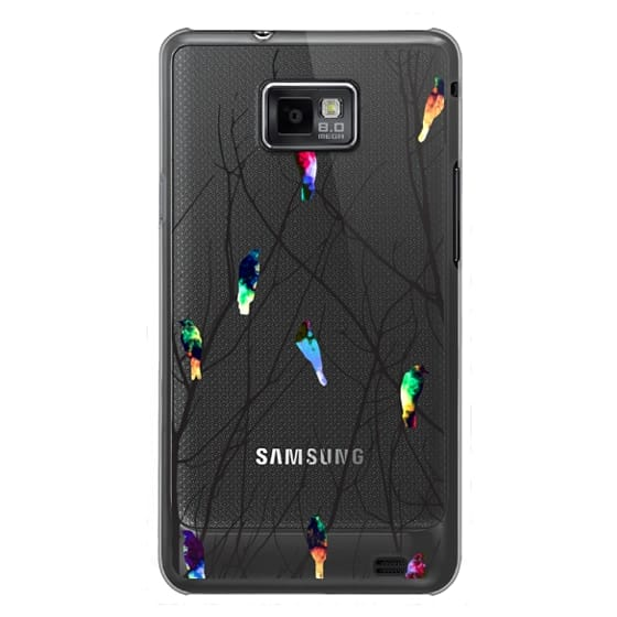 Samsung Galaxy S2 Cases - Trendy Watercolor Birds on Black Tree Branches